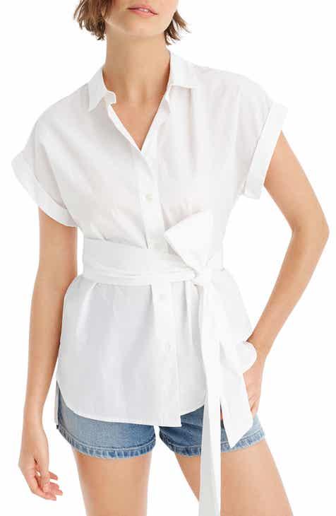 7b170ea9abfa27 J.Crew Button Front Tie Waist Cotton Poplin Top (Nordstrom Exclusive)