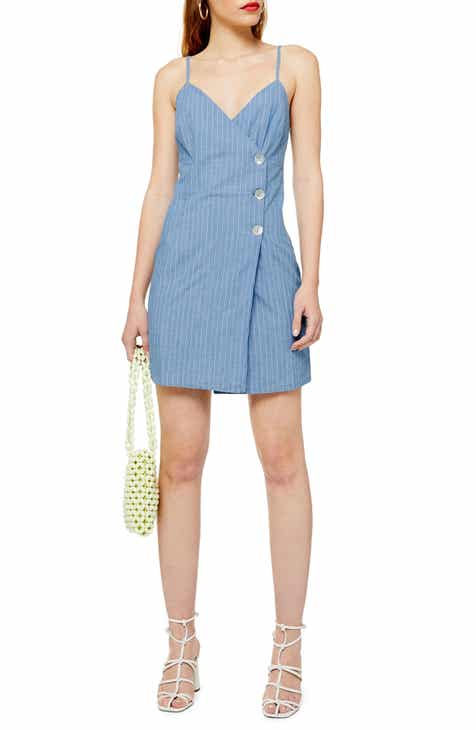 3296012ce2cf Topshop Stripe Denim Wrap Minidress