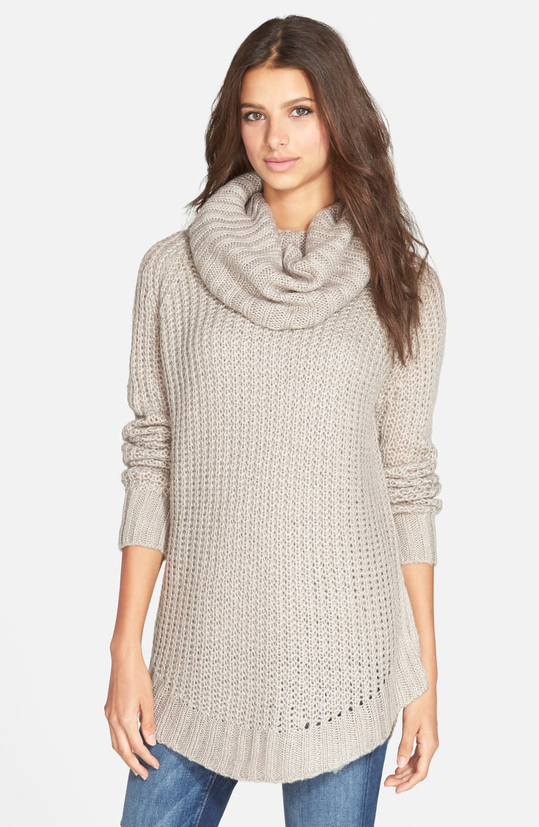 Cowl Neck Sweater,                         Main,                         color, Mocha