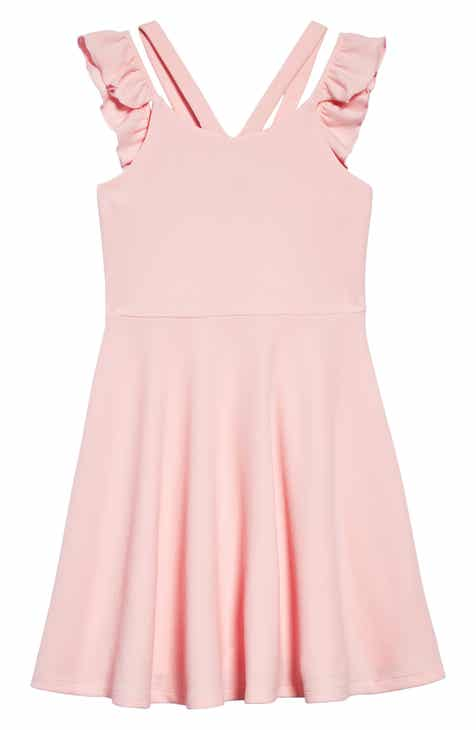 67884cc88e42 Zunie Ruffle Sleeve Skater Dress (Big Girls)
