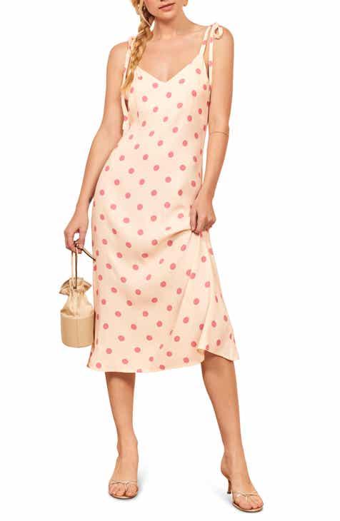 e208b684c15 Reformation Jade Dot Print Tie Shoulder Dress