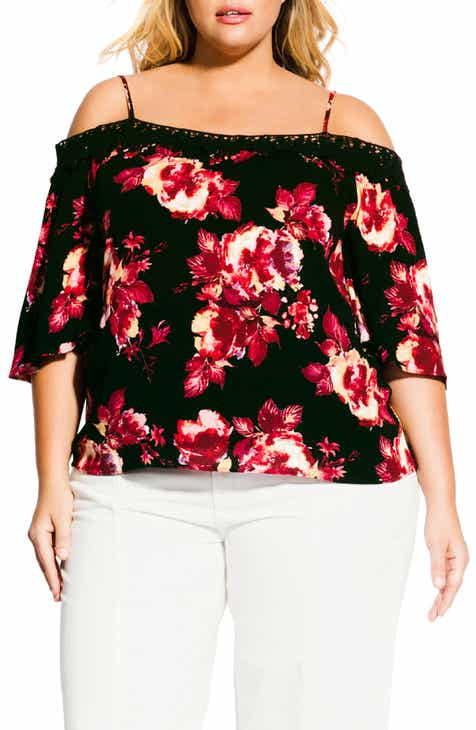 94d85a59510 City Chic Monet Black Rose Cold Shoulder Blouse (Plus Size)