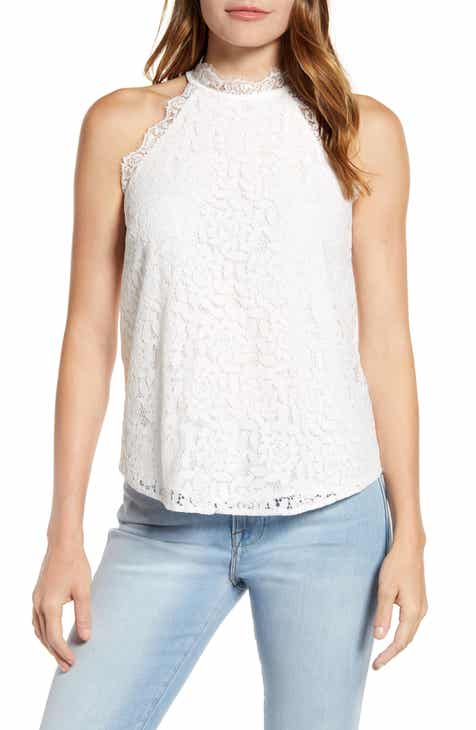 Gibson x Hot Summer Nights Almost Ready Lace Trim Sleeveless Top (Nordstrom Exclusive)