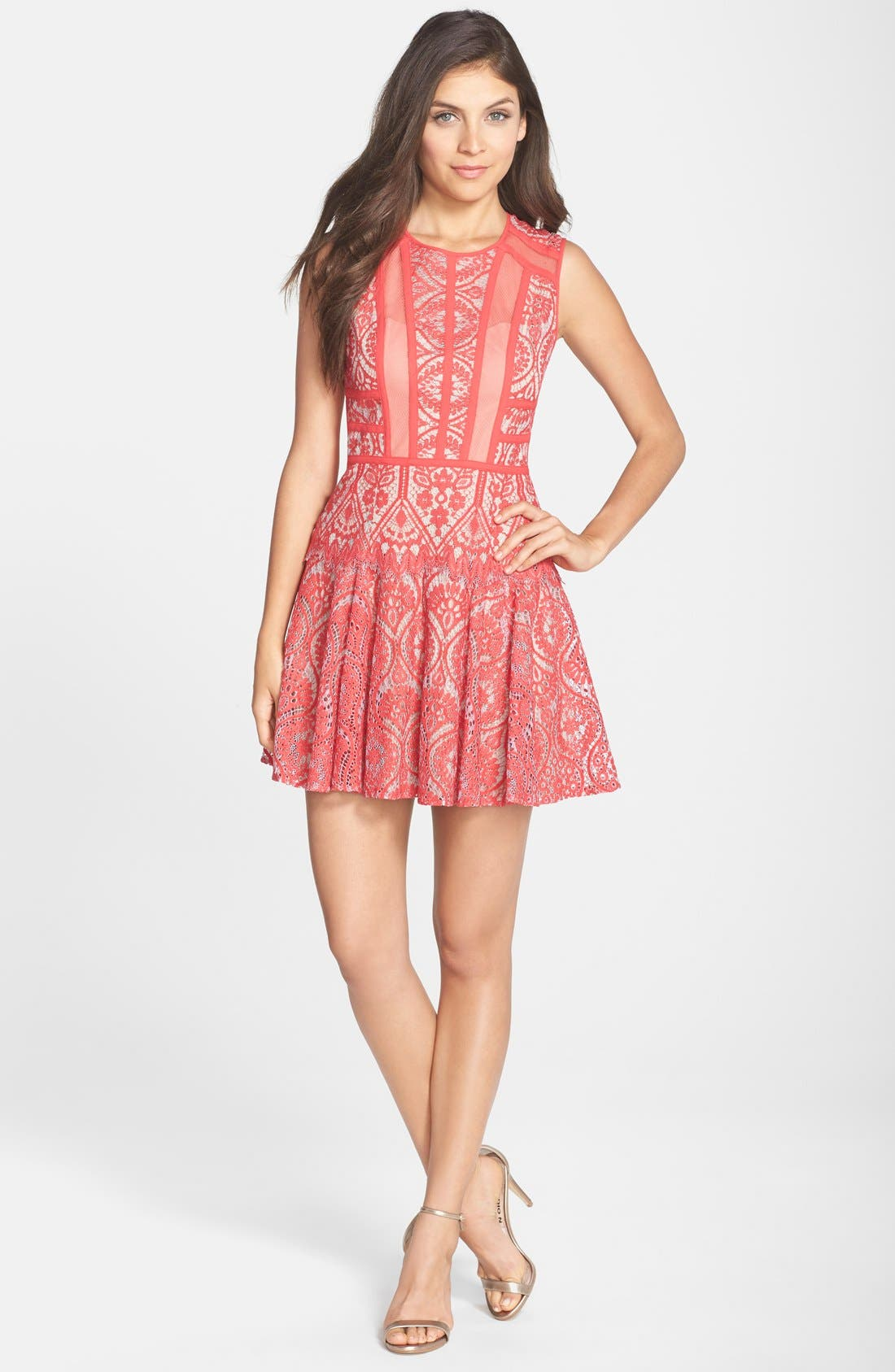 Alternate Image 3  - BCBGMAXAZRIA 'Shira' Knit Lace Fit & Flare Dress