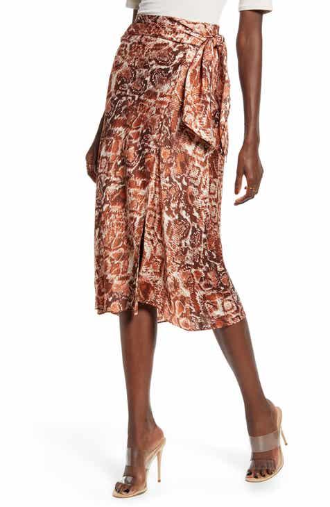 Coupon J.O.A. Snake Print Wrap Skirt