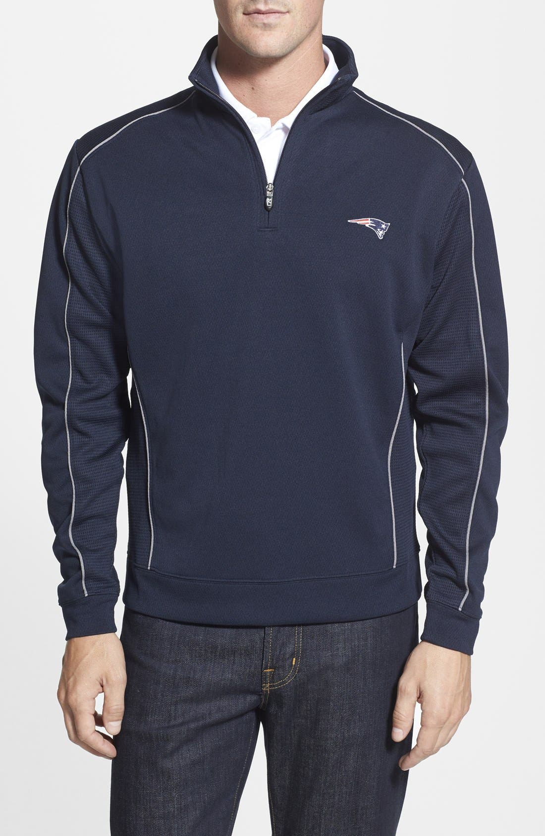 New England Patriots - Edge DryTec Moisture Wicking Half Zip Pullover,                             Main thumbnail 1, color,                             Navy Blue