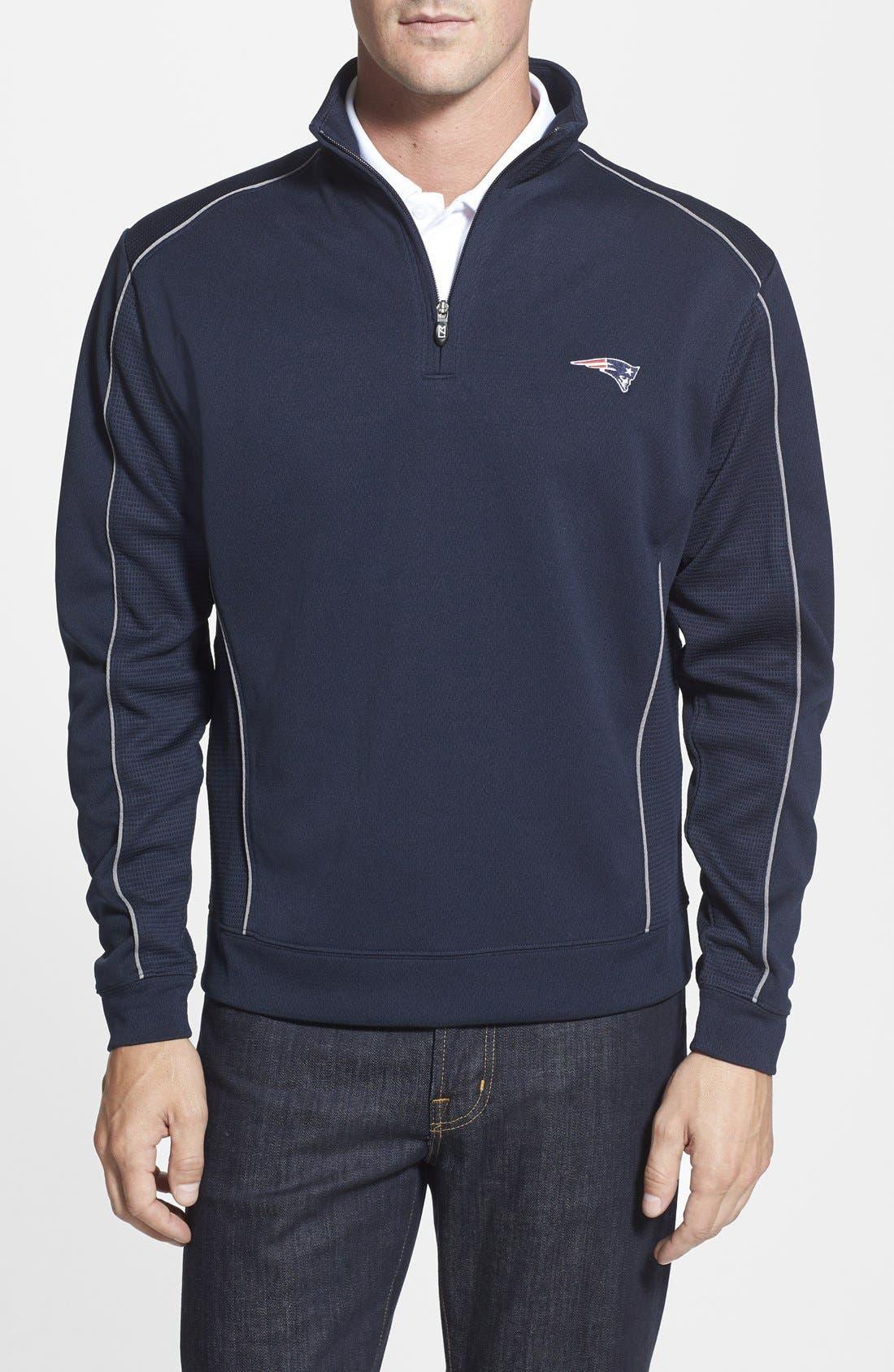 New England Patriots - Edge DryTec Moisture Wicking Half Zip Pullover,                         Main,                         color, Navy Blue