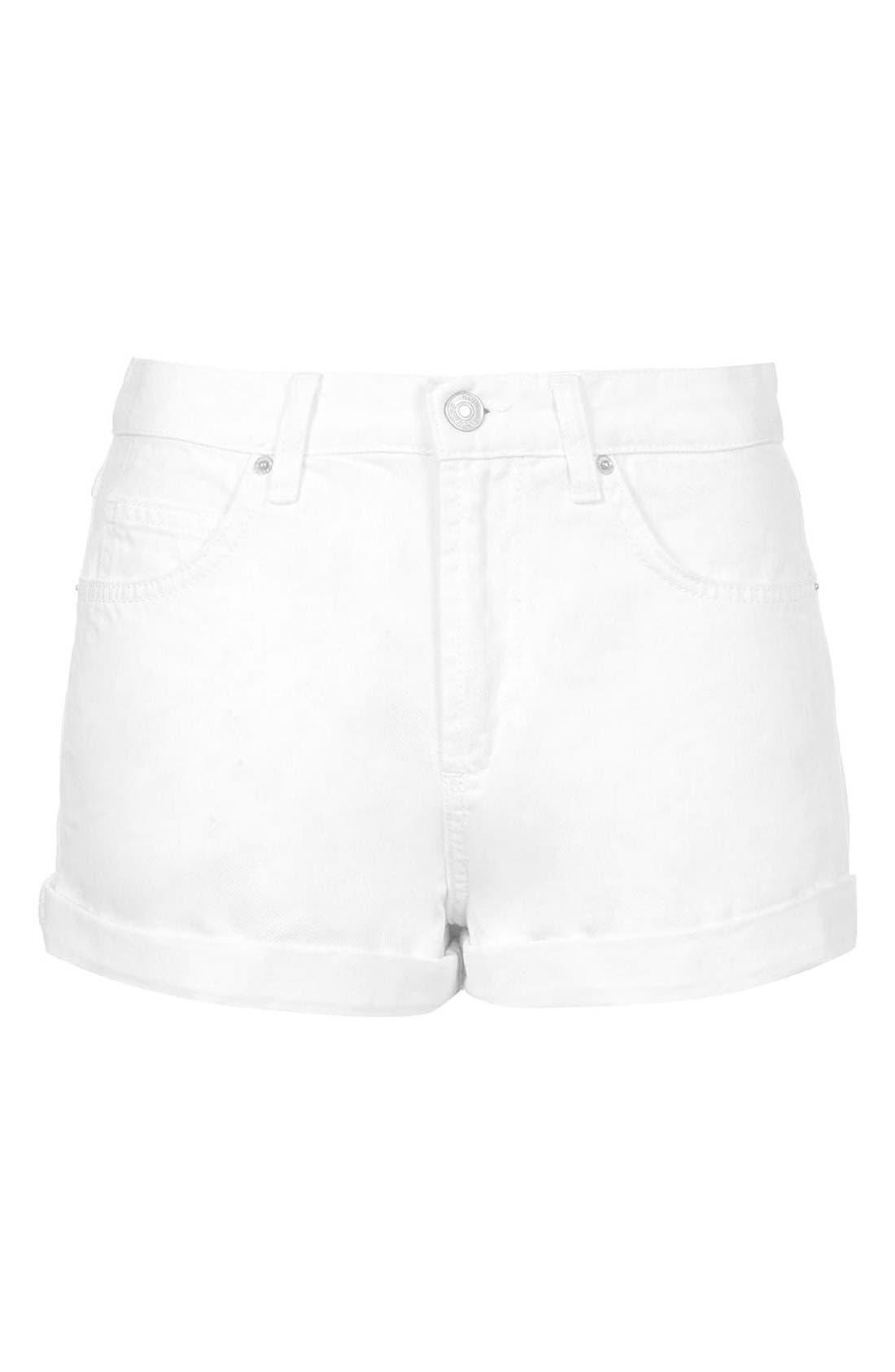 Alternate Image 3  - Topshop Moto 'Rosa' Cuffed Denim Shorts (White)