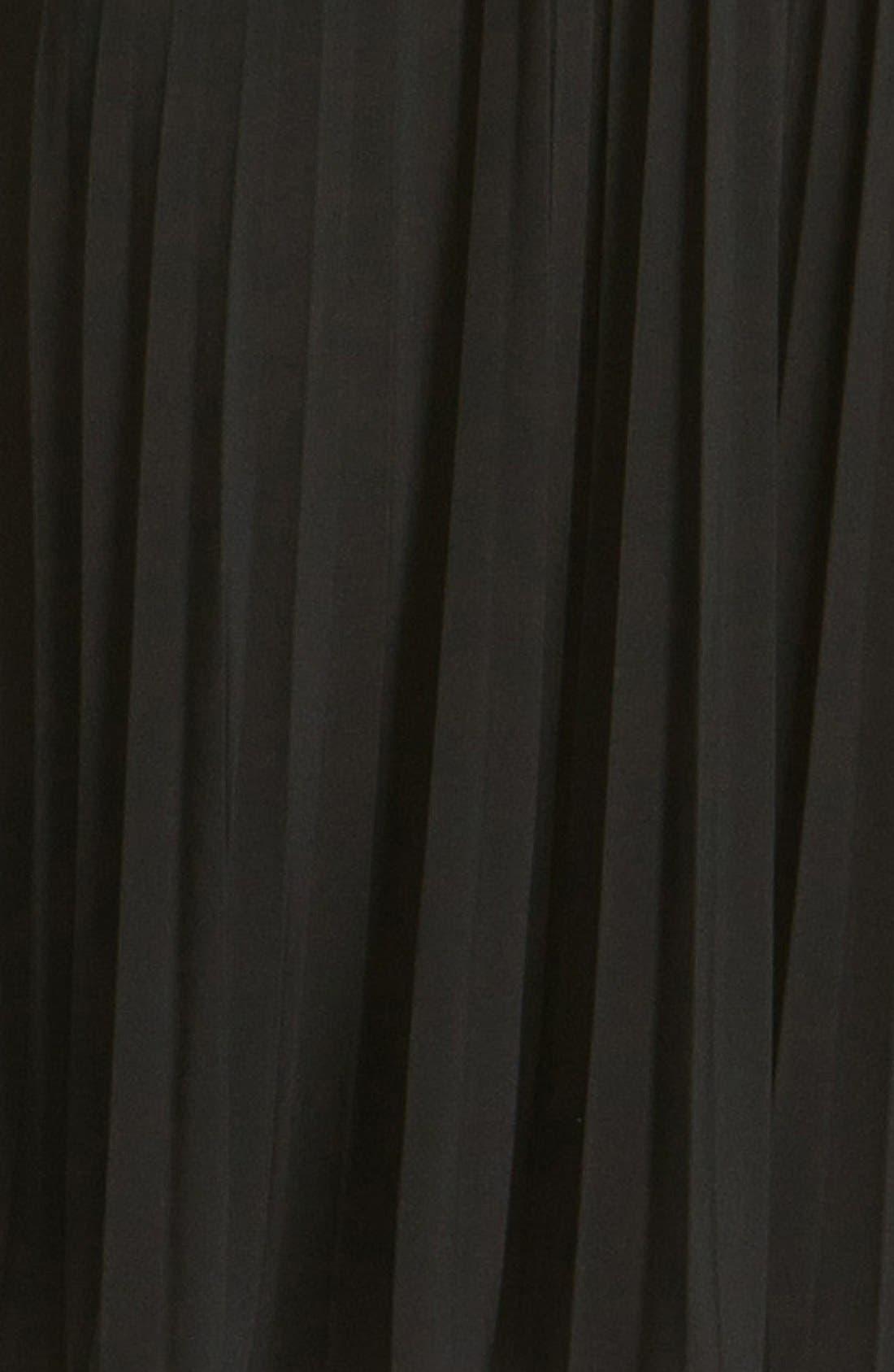 'Sunburst' Pleated Jersey Fit & Flare Dress,                             Alternate thumbnail 3, color,                             Black