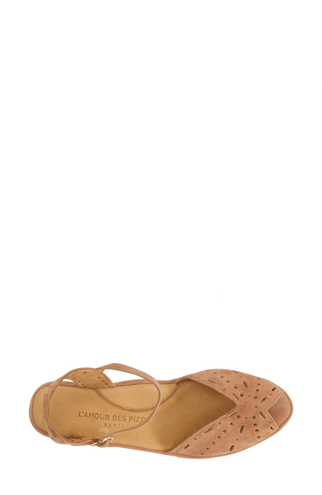 'Brenn' Ankle Strap Sandal,                             Alternate thumbnail 3, color,                             Cognac Suede