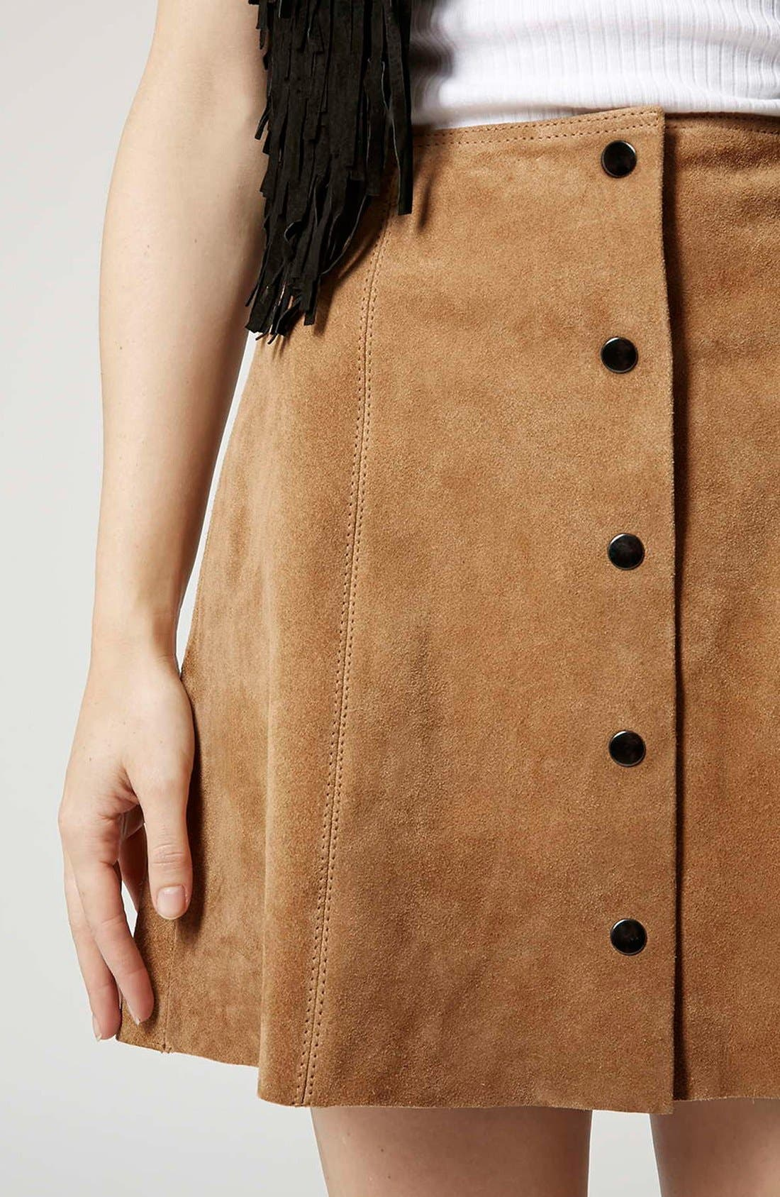 Alternate Image 4  - Topshop Suede A-Line Skirt