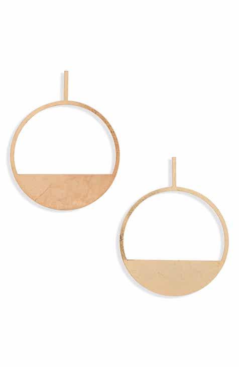 BP. Brushed Geo Frontal Hoop Earrings