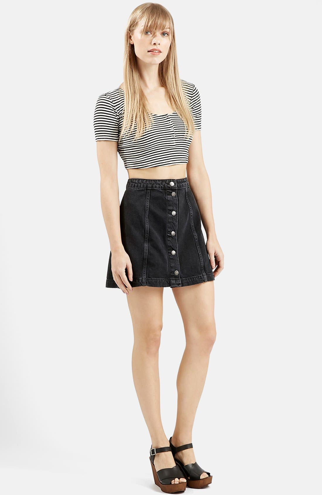 Alternate Image 2  - Topshop Stripe Rib Knit Crop Top
