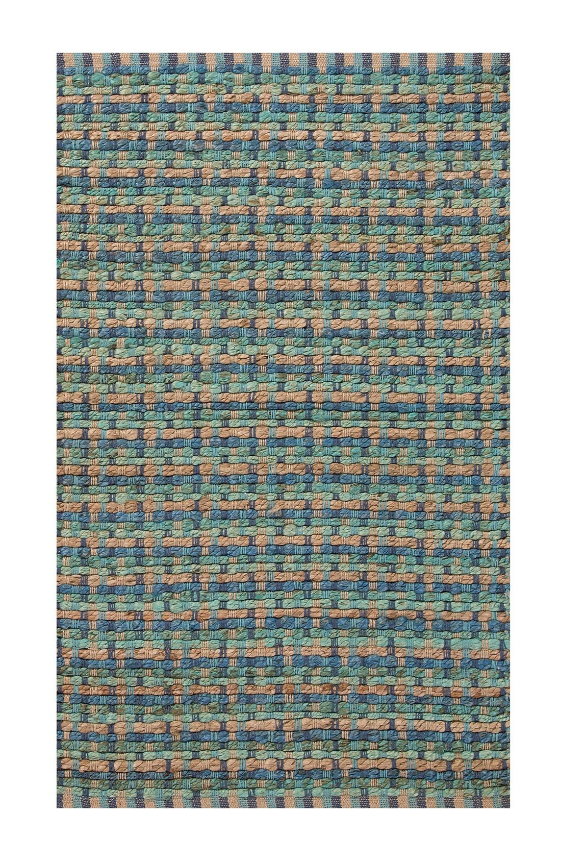'Manchester' Jute & Cotton Accent Rug,                         Main,                         color, Blue/ Taupe