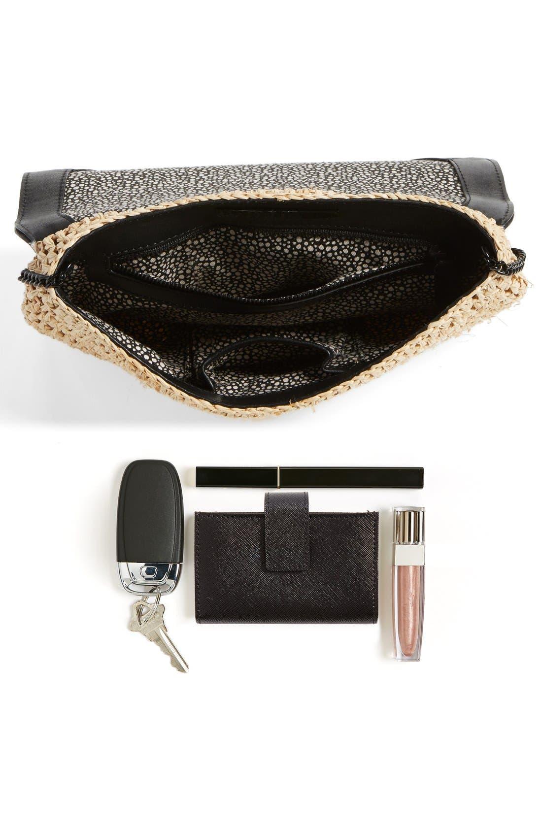 Alternate Image 7  - Loeffler Randall 'Lock' Raffia & Leather Clutch