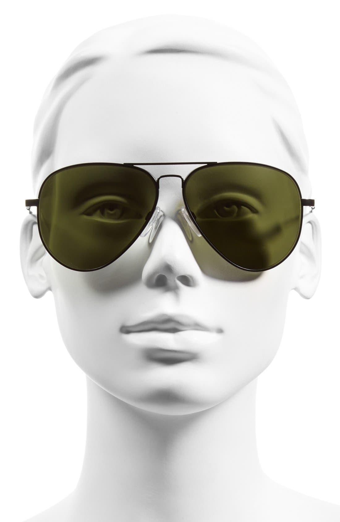 'AV1 XL' 62mm Aviator Sunglasses,                             Alternate thumbnail 2, color,                             Black/ Grey