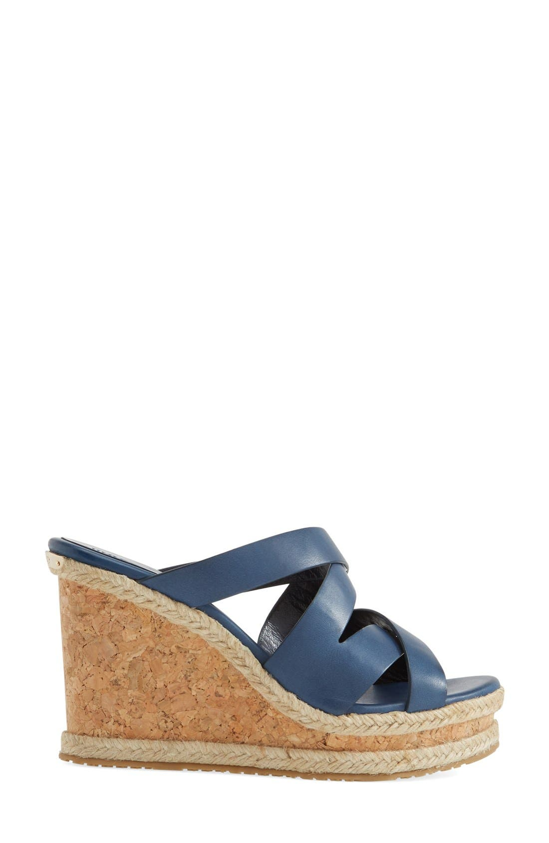 'Prisma' Leather Wedge Sandal,                             Alternate thumbnail 4, color,                             Navy