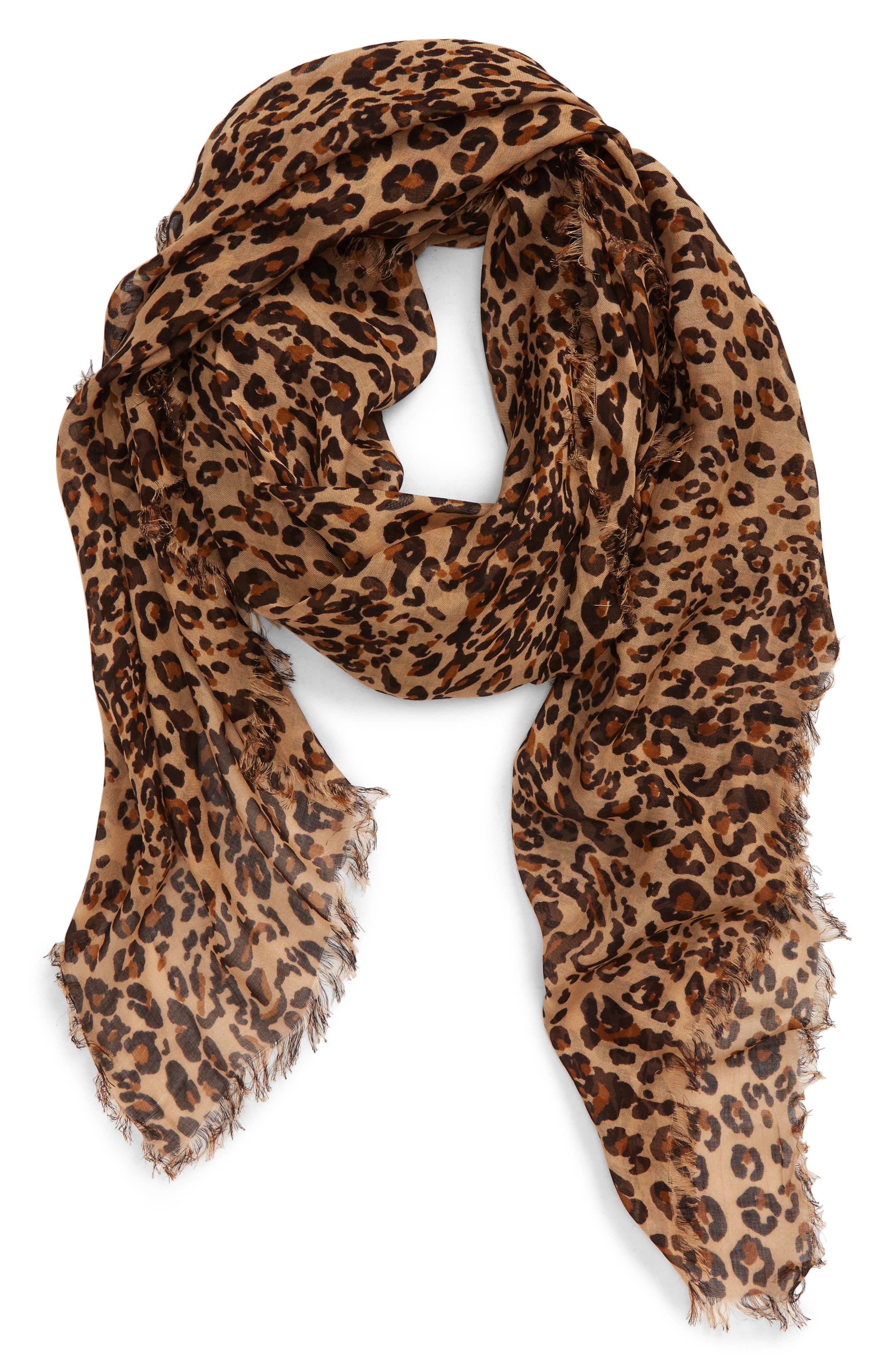 Grey Leopard Print Scarf Black Pink Border Ladies Animal Shawl Wrap Scarves New