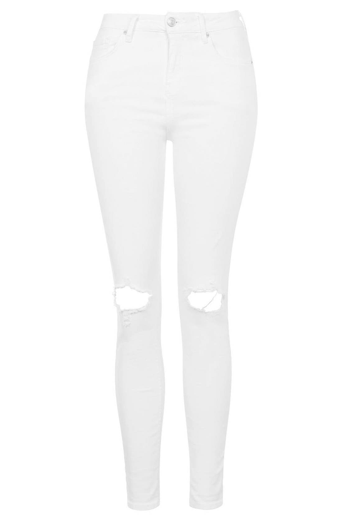 Alternate Image 3  - Topshop Moto 'Jamie' Busted Skinny Jeans (White)