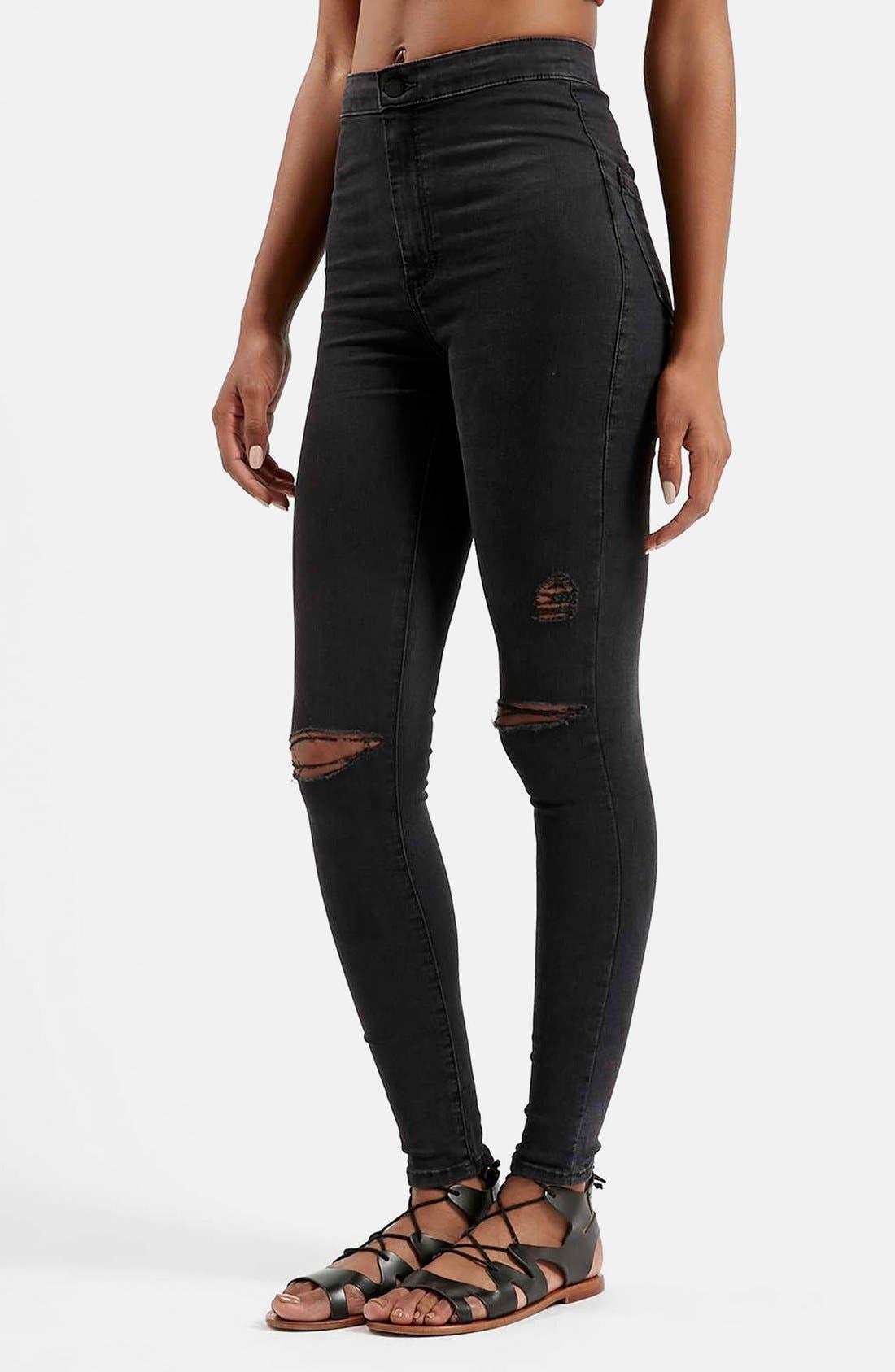 Main Image - Topshop Moto 'Joni' Ripped Skinny Jeans (Black)