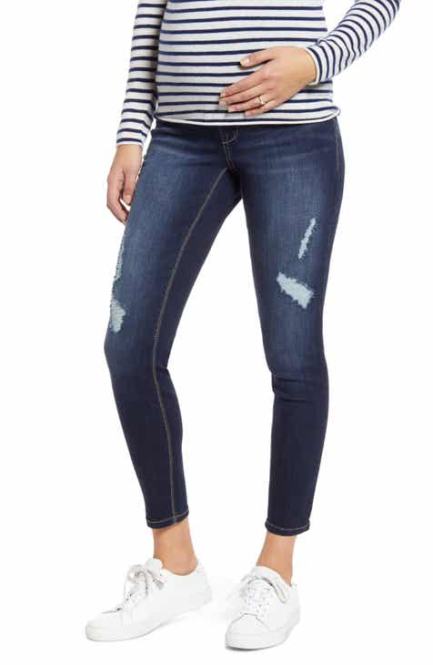 1822 Denim Ripped Ankle Skinny Maternity Jeans (Miley)