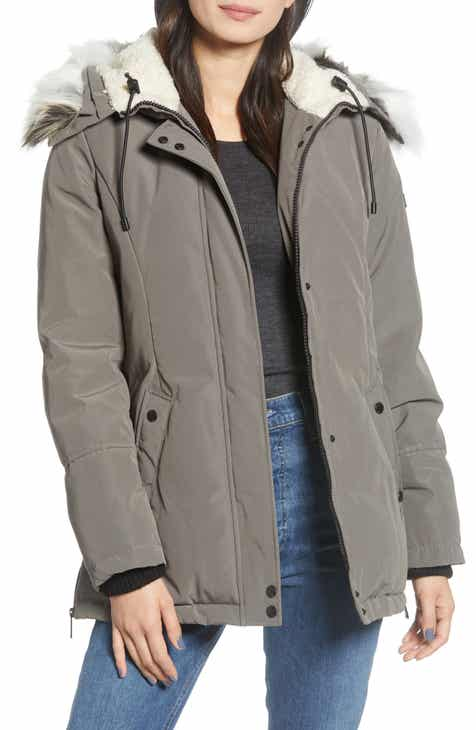 Sam Edelman Faux Fur Trim Short Parka