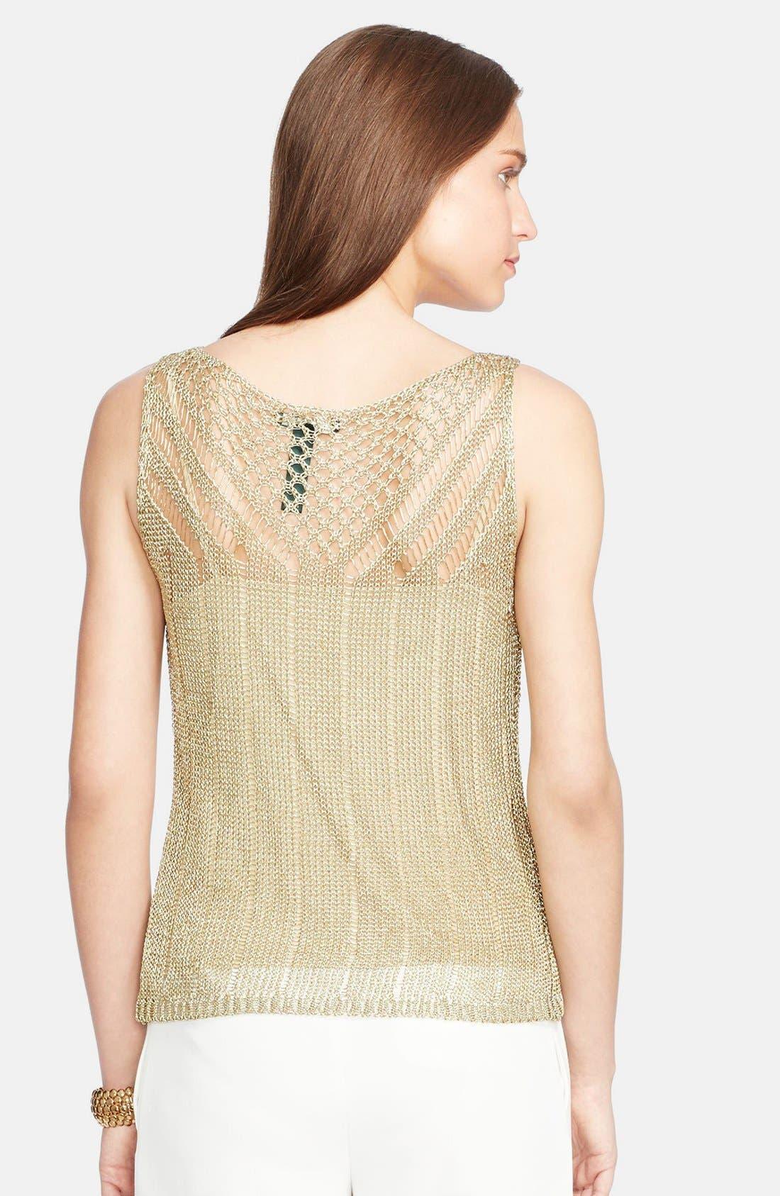 Alternate Image 2  - Lauren Ralph Lauren Sleeveless Metallic Pointelle Sweater
