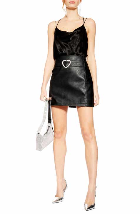 Topshop Heart Buckle Faux Leather Miniskirt