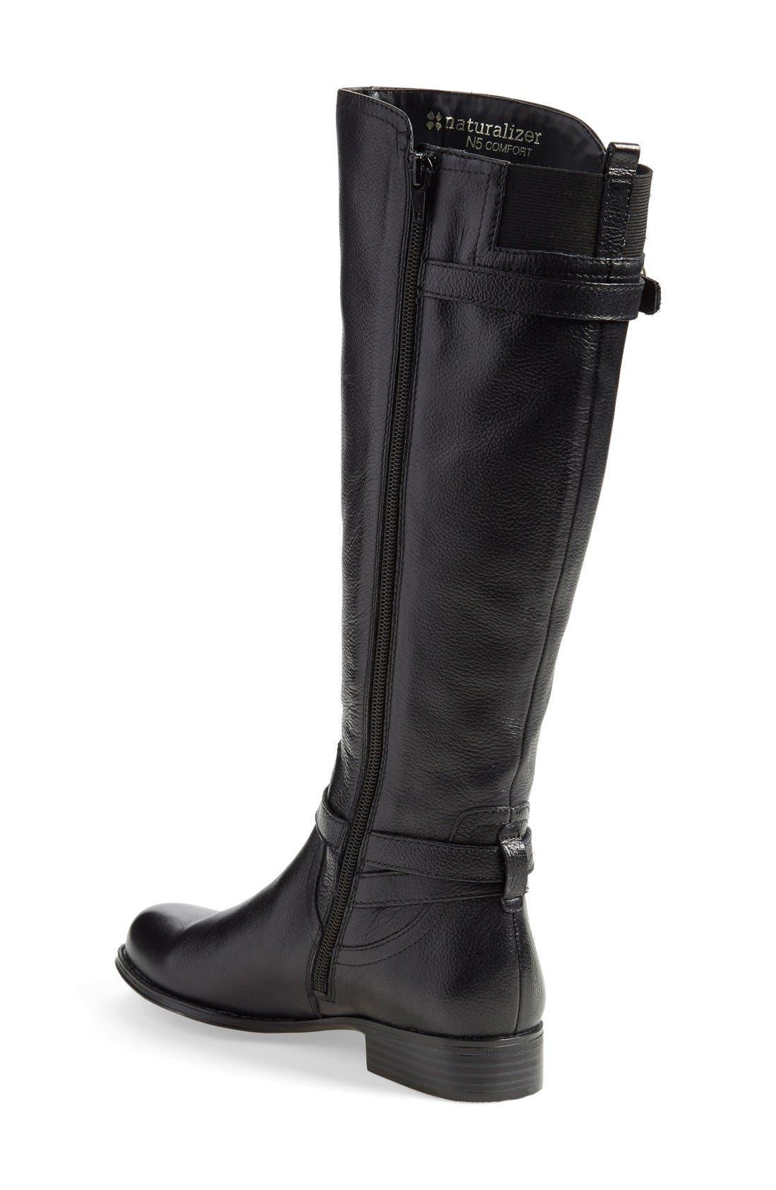 'Jennings' Knee High Boot,                             Alternate thumbnail 2, color,                             Black Leather