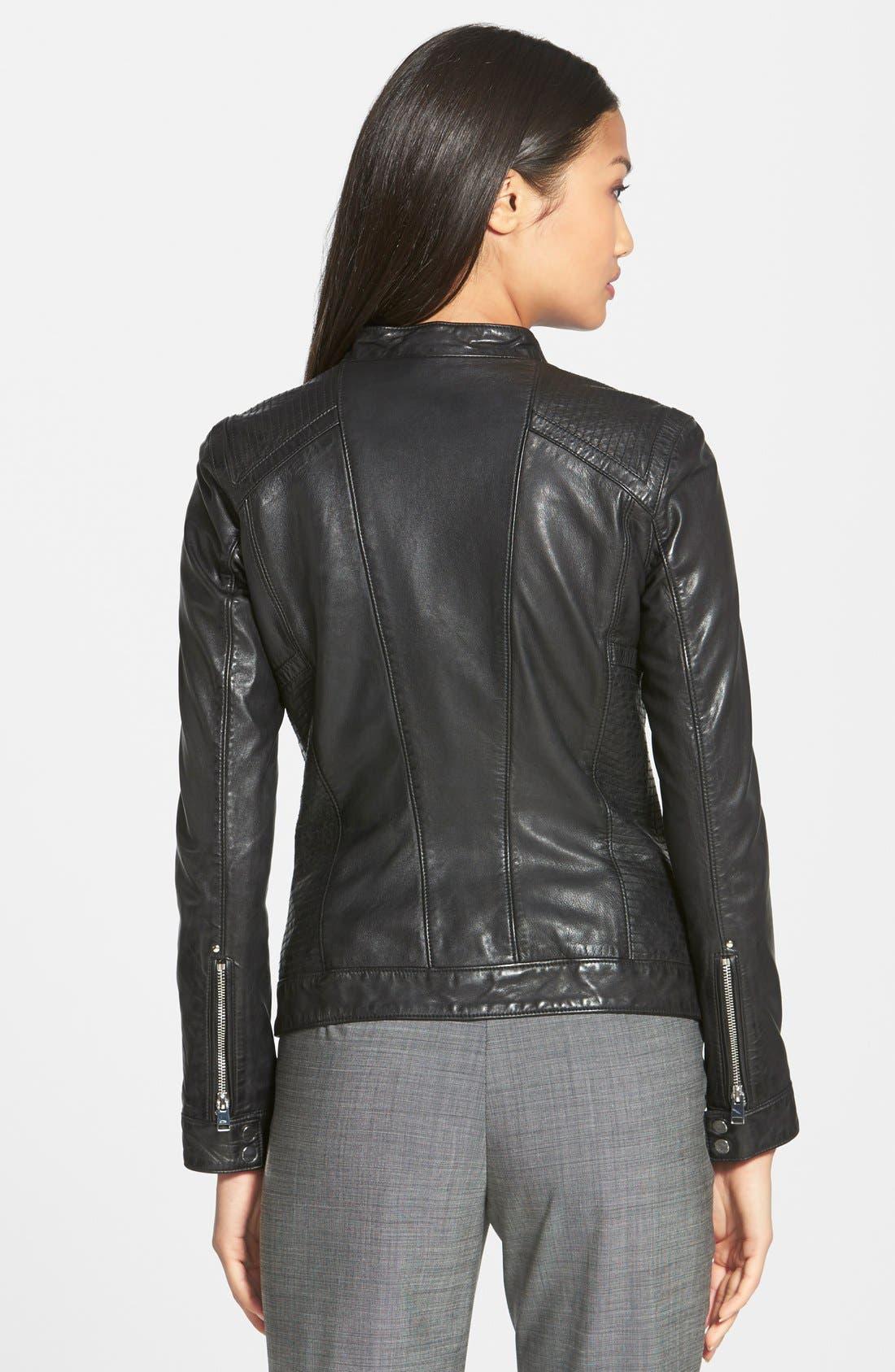 Alternate Image 2  - LAMARQUE Leighton Stitch Detail Lambskin Leather Jacket (Online Only)