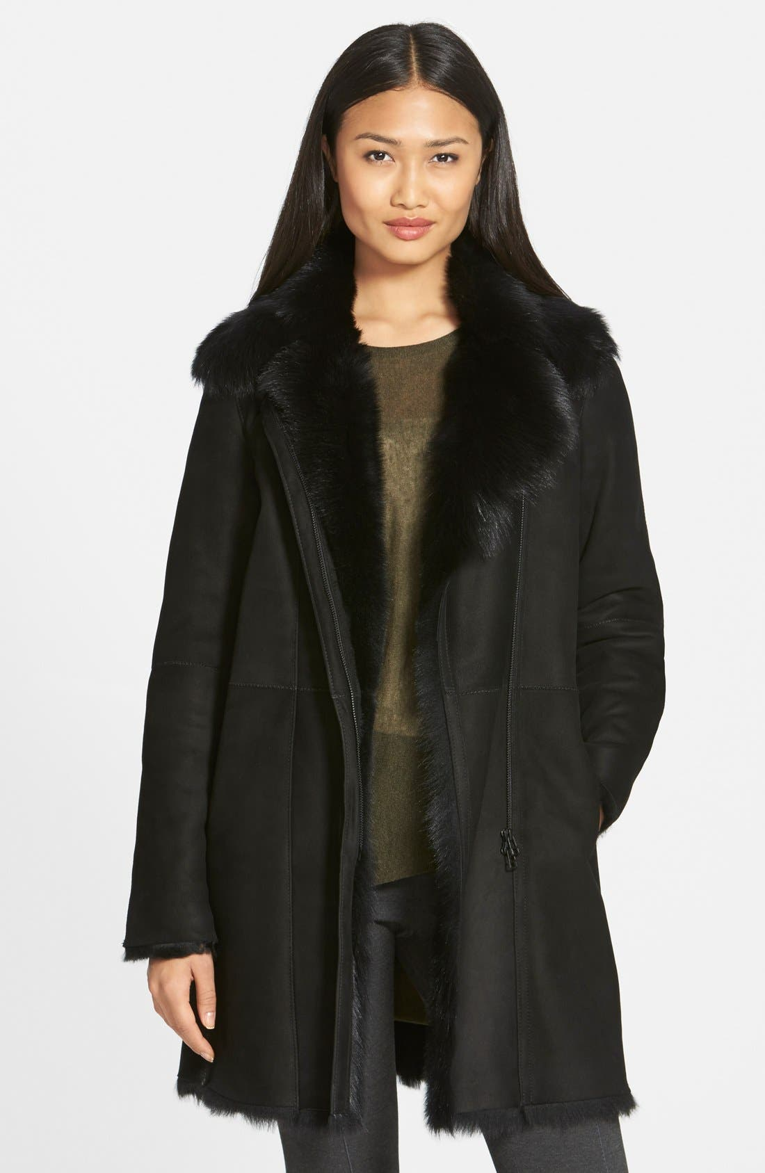 Main Image - HiSO Asymmetrical Zip Genuine Toscana Shearling Coat