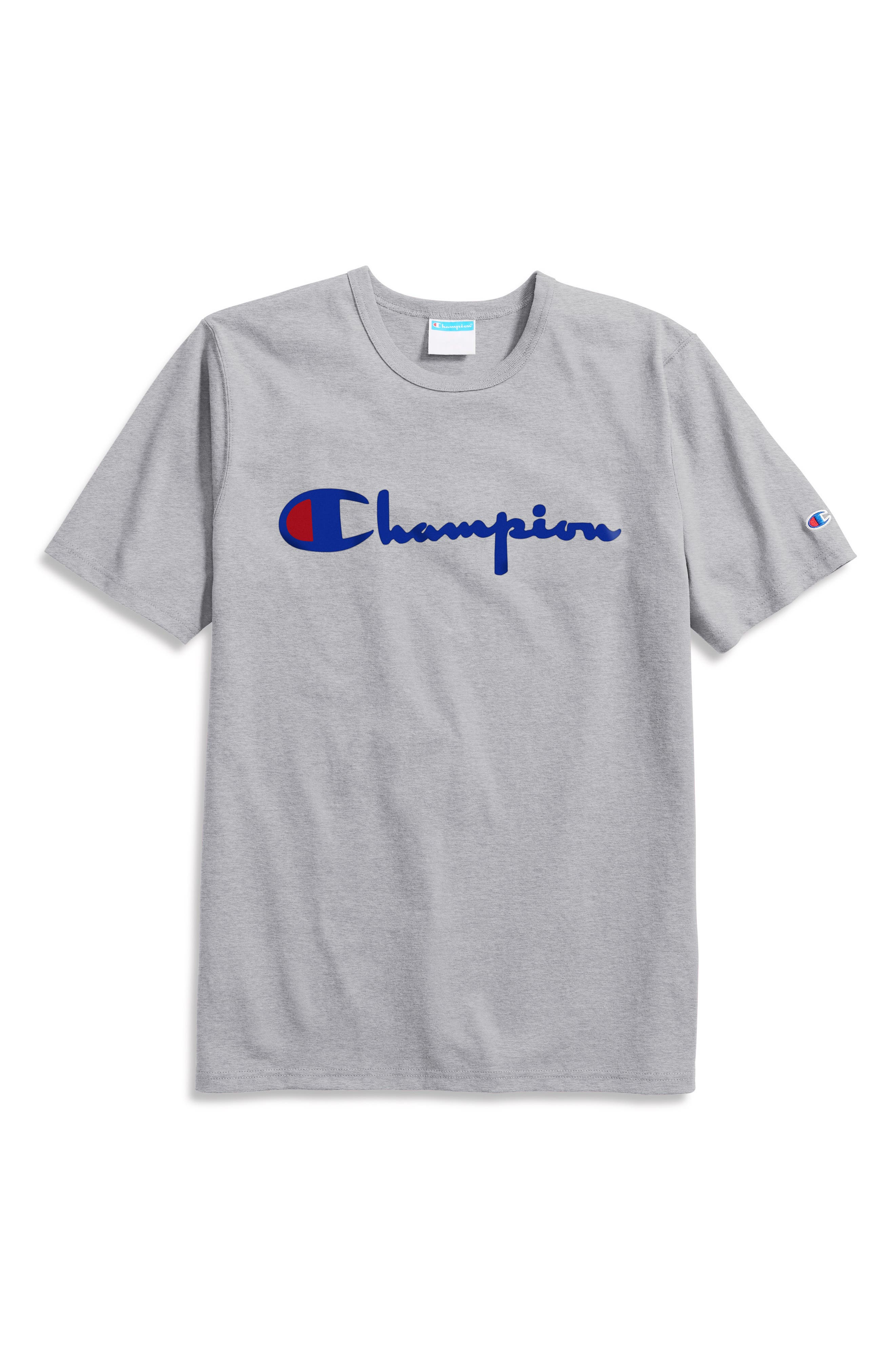 Champion Authentic Athletic Wear Mens Gray NYC Logo Short Sleeve T-Shirt Big C