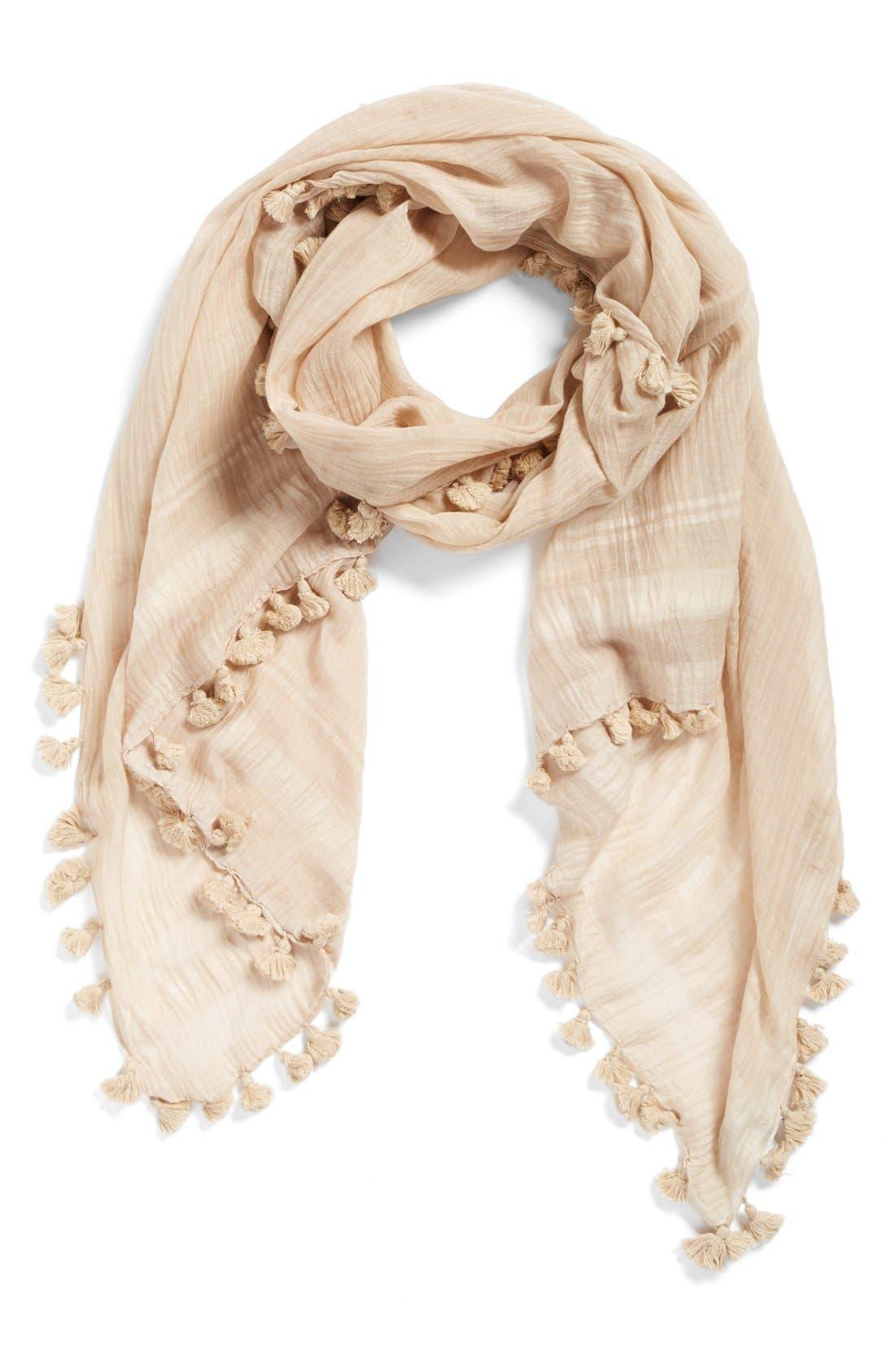 Cotton & Silk Scarf,                             Main thumbnail 1, color,                             Beige