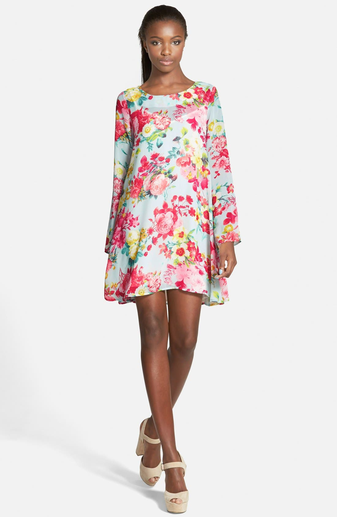 Alternate Image 1 Selected - Floral Print Swing Dress