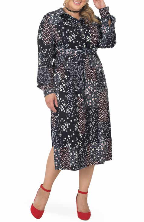 Standards & Practices Tie Waist Long Sleeve Midi Dress (Plus Size)