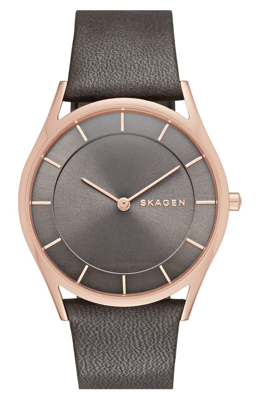 Alternate Image 1 Selected - Skagen 'Holst' Leather Strap Watch, 34mm