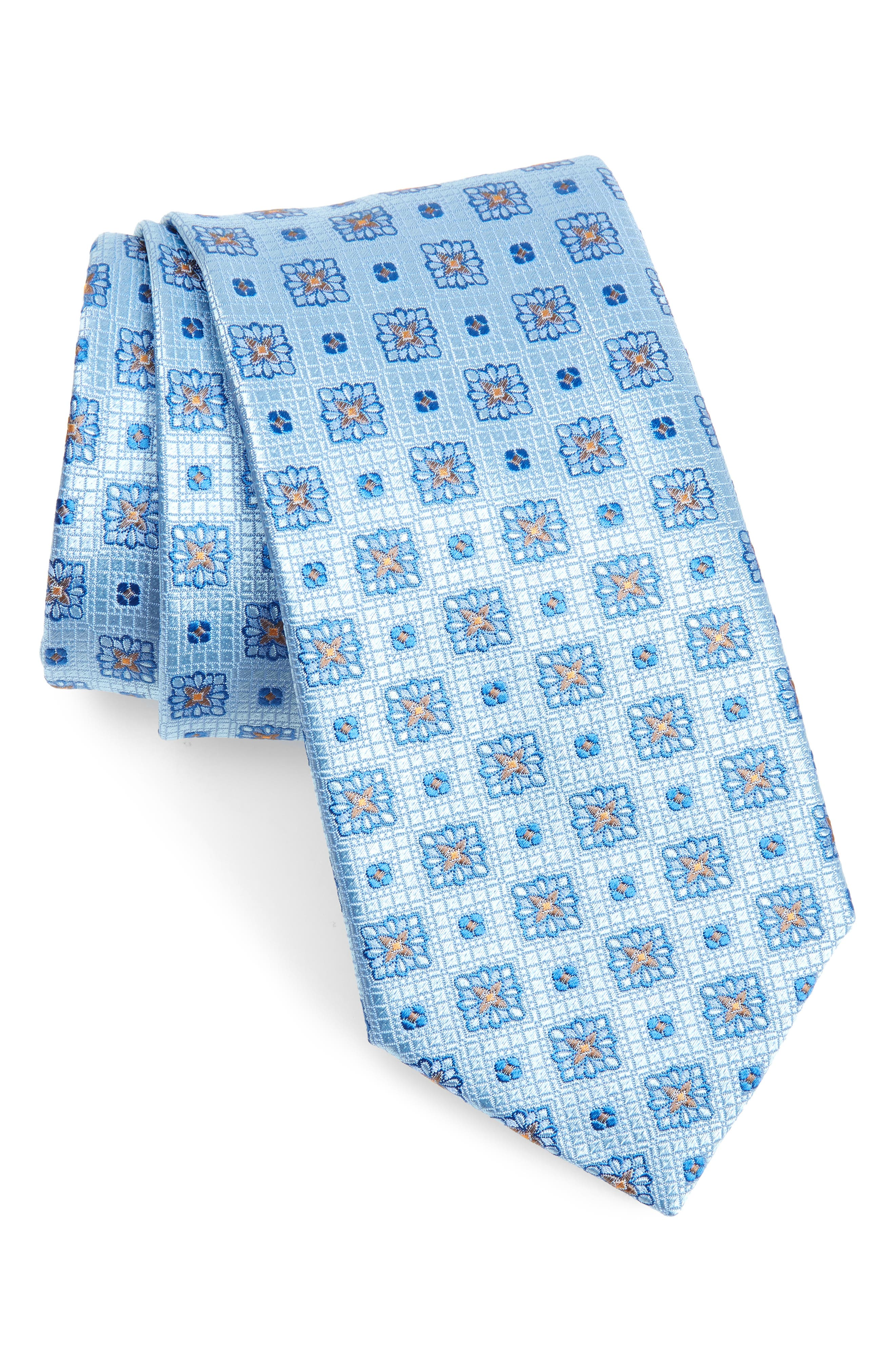 Canali Mens Blue Silver Geometric Silk Neck Tie