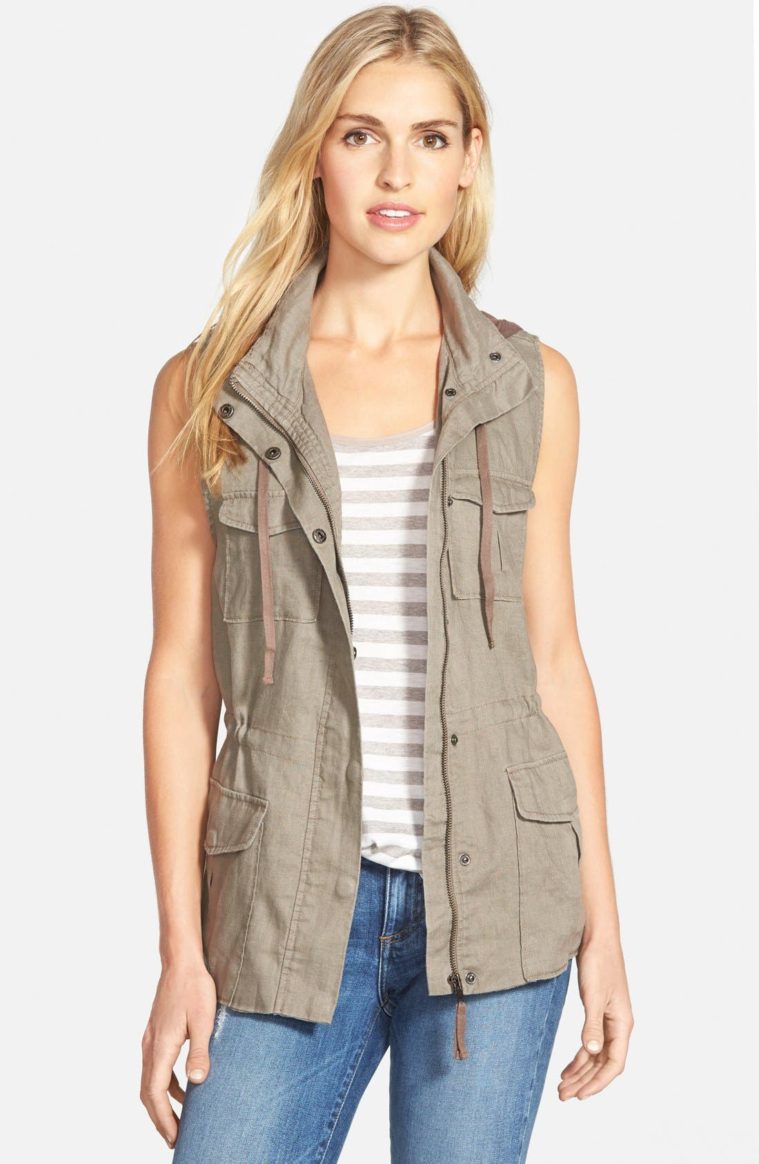 Alternate Image 1 Selected - Gibson Linen Utility Vest with Knit Hood