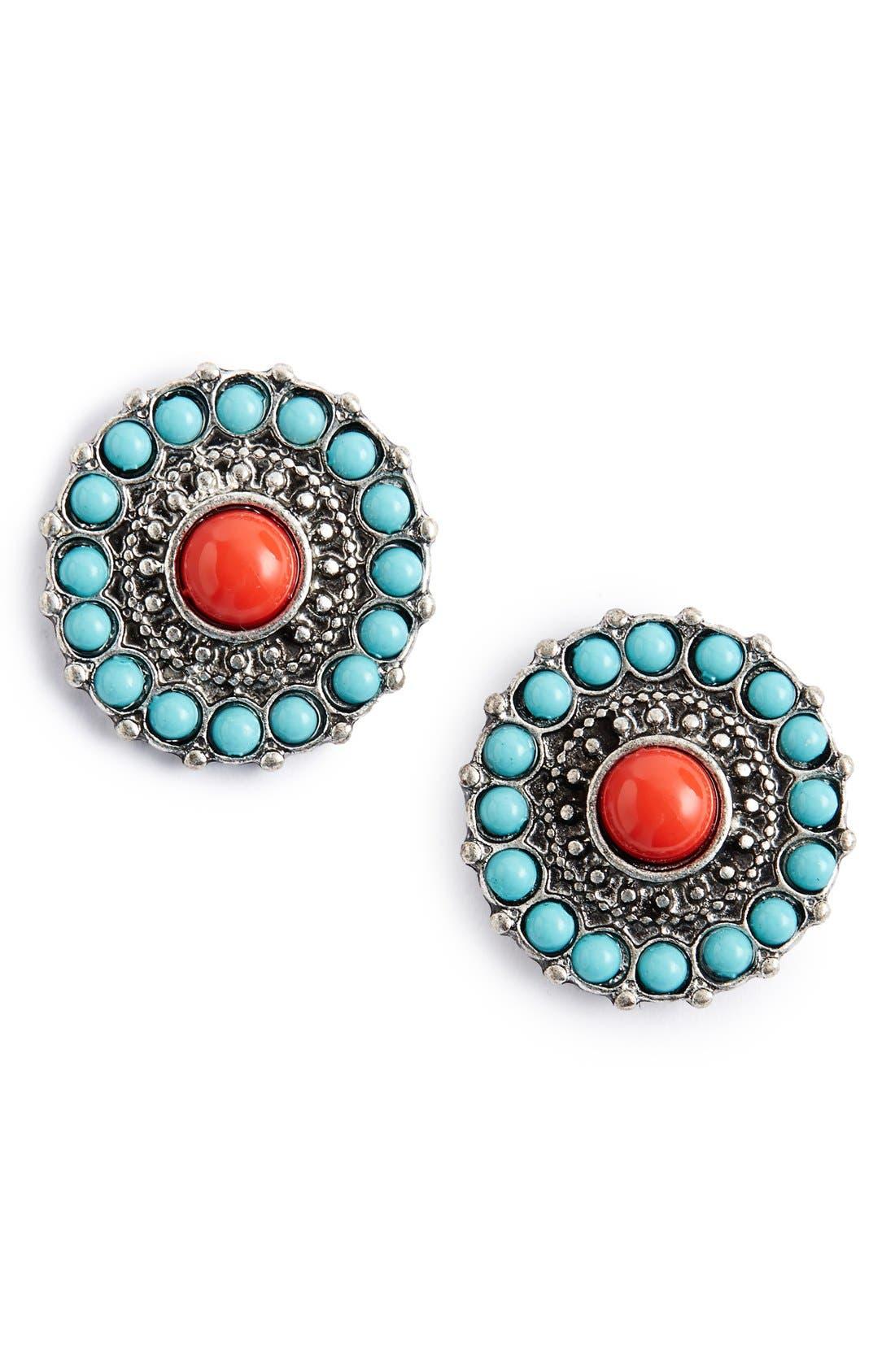 Alternate Image 1 Selected - BP. Stone Medallion Post Earrings