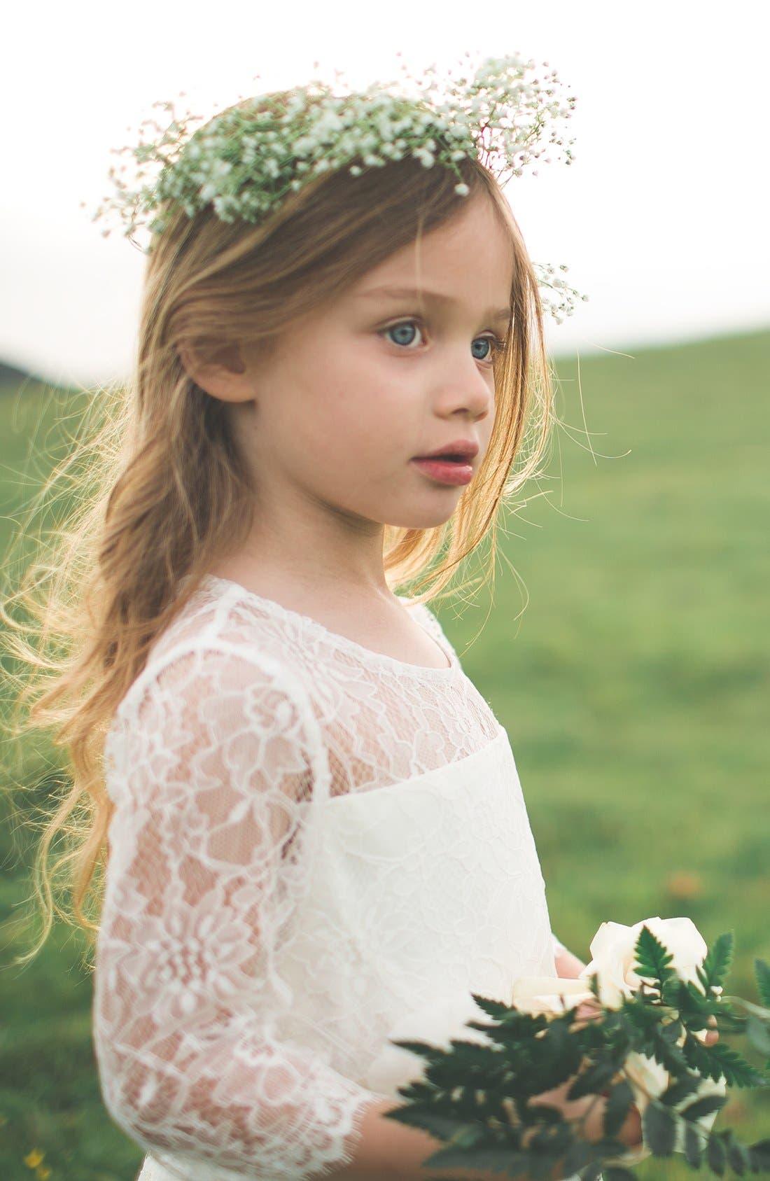 Annie Floral Appliqué Lace Dress,                             Alternate thumbnail 5, color,                             Ivory