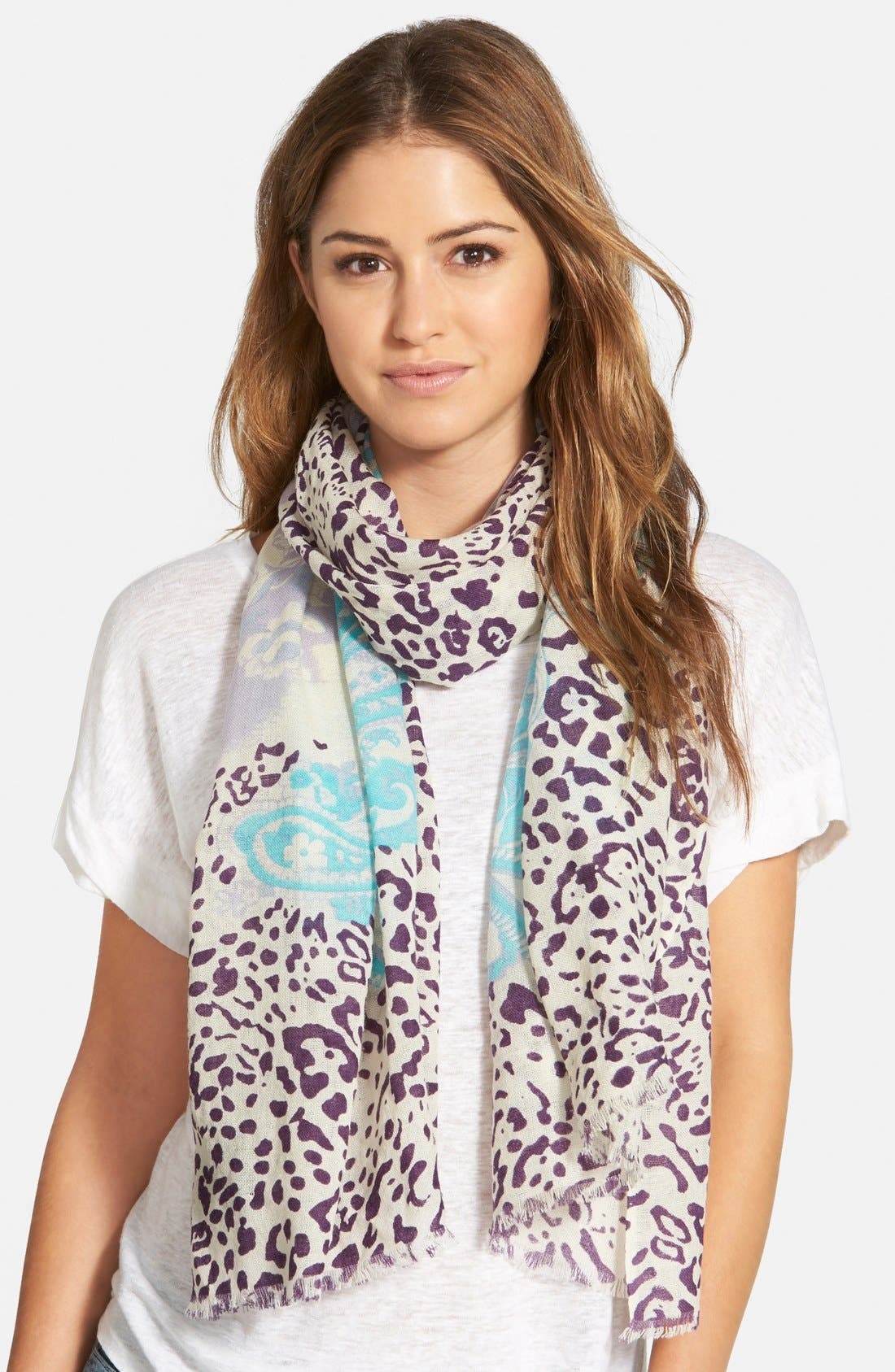 Mixed Print Wool Scarf,                         Main,                         color, Blue