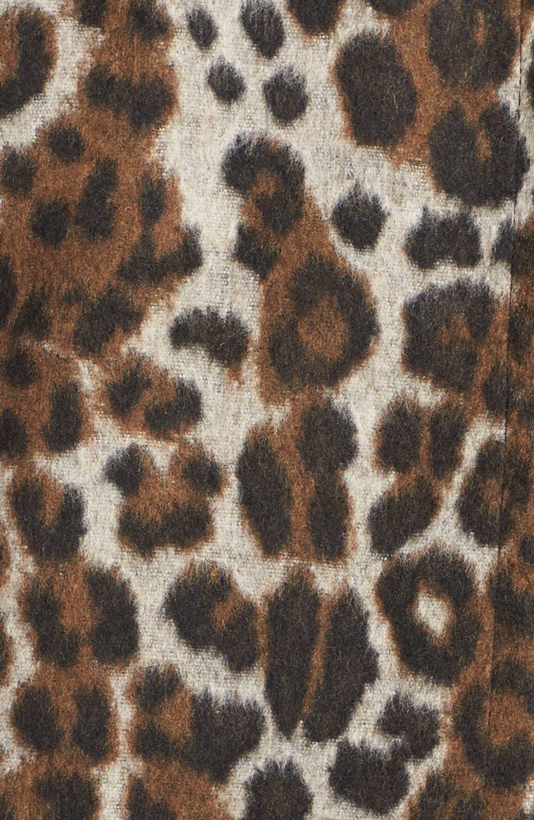 Leopard Print Car Coat,                             Alternate thumbnail 3, color,                             Leopard