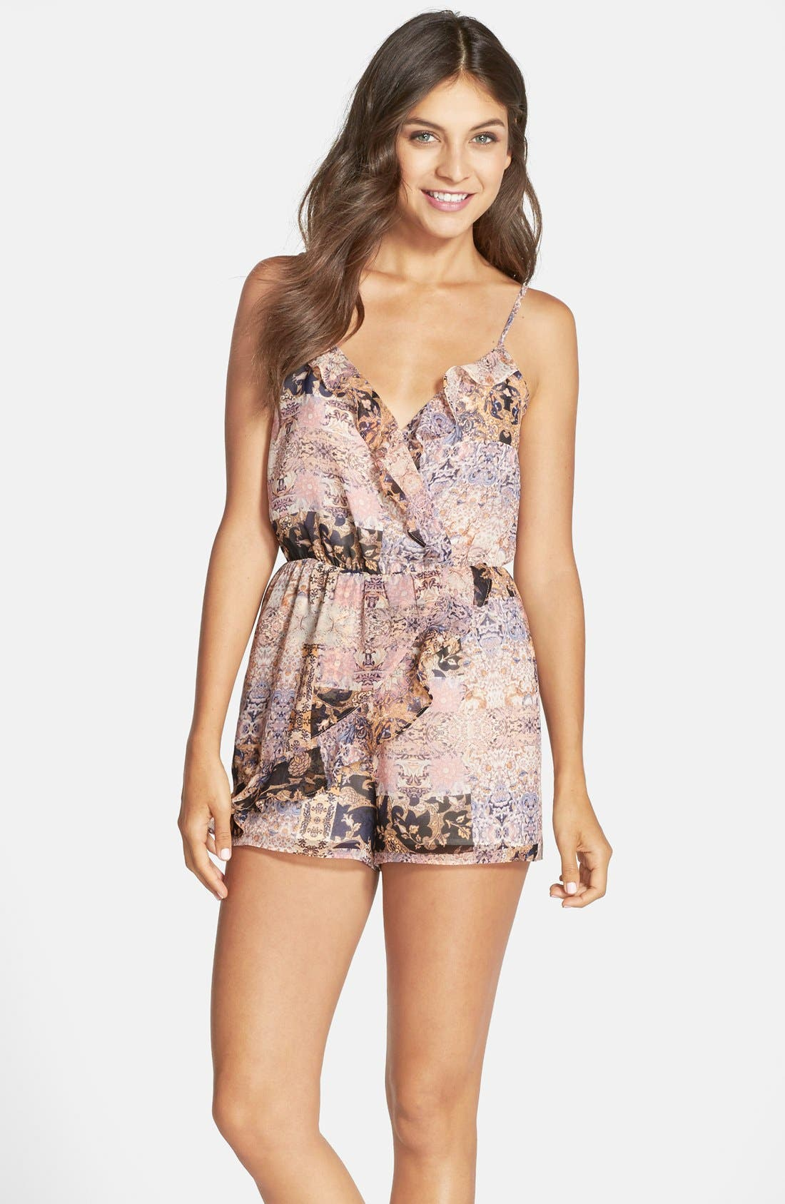 Alternate Image 1 Selected - BCBGeneration Print Ruffle Romper