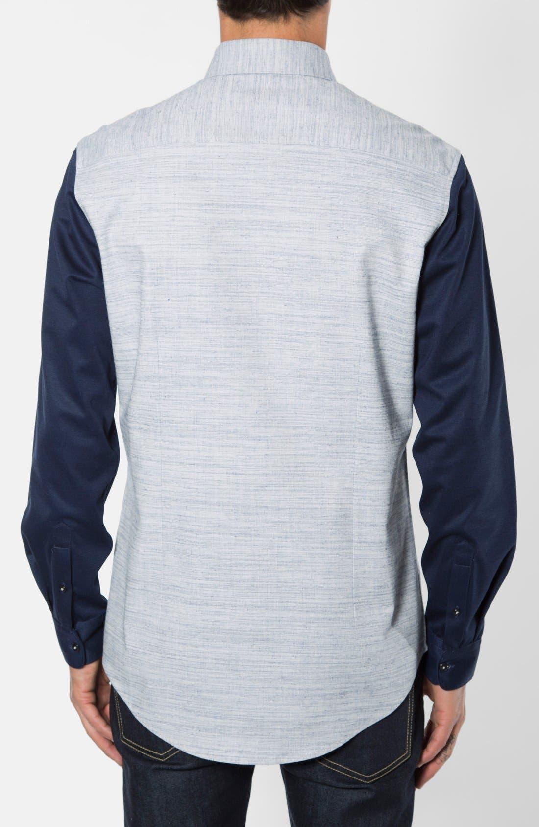Waveforms Trim Fit Print Woven Shirt,                             Alternate thumbnail 2, color,                             Blue