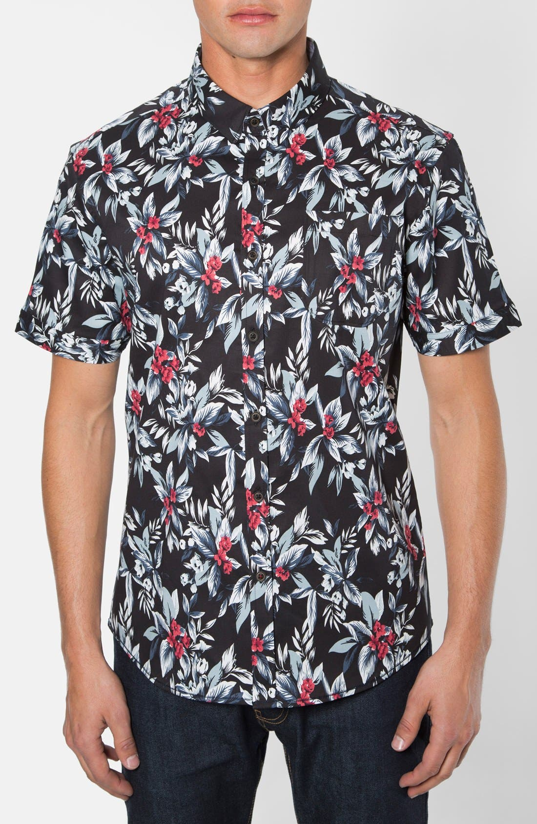 7 Diamonds 'Ignition' Trim Fit Short Sleeve Print Woven Shirt