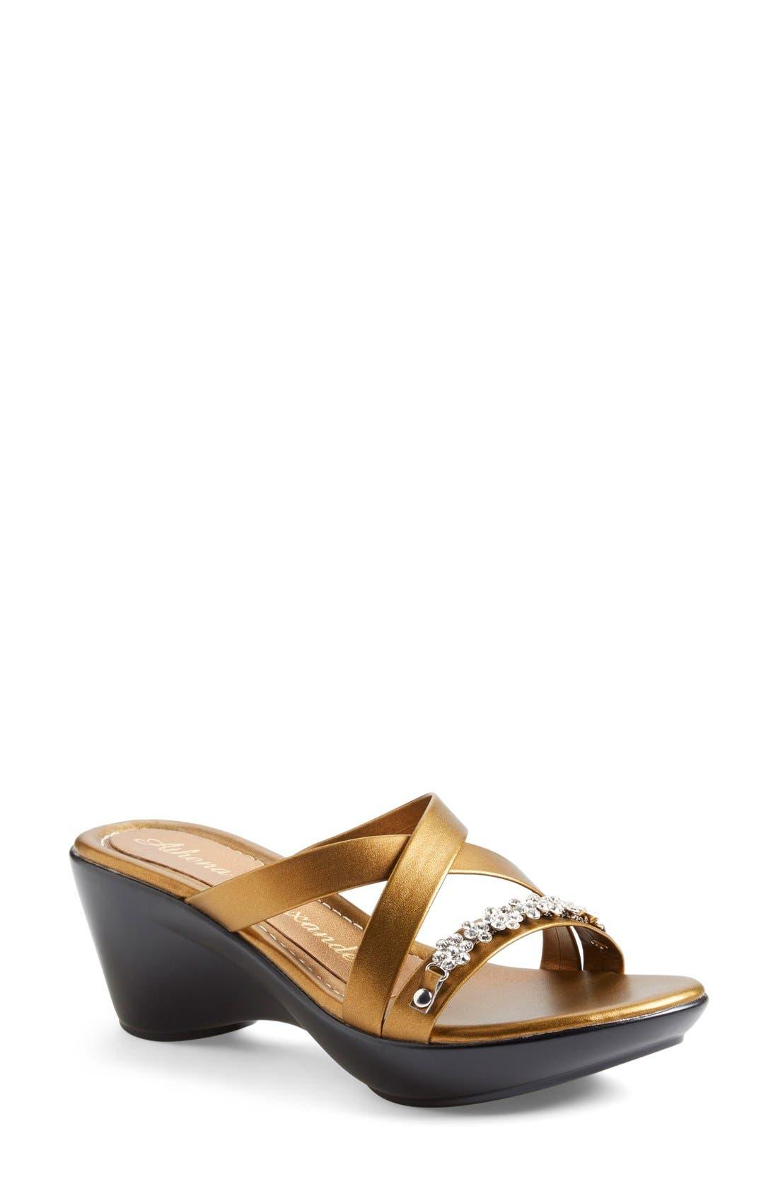 Alternate Image 1 Selected - Athena Alexander 'Tangie' Crystal Embellished Wedge Sandal (Women)