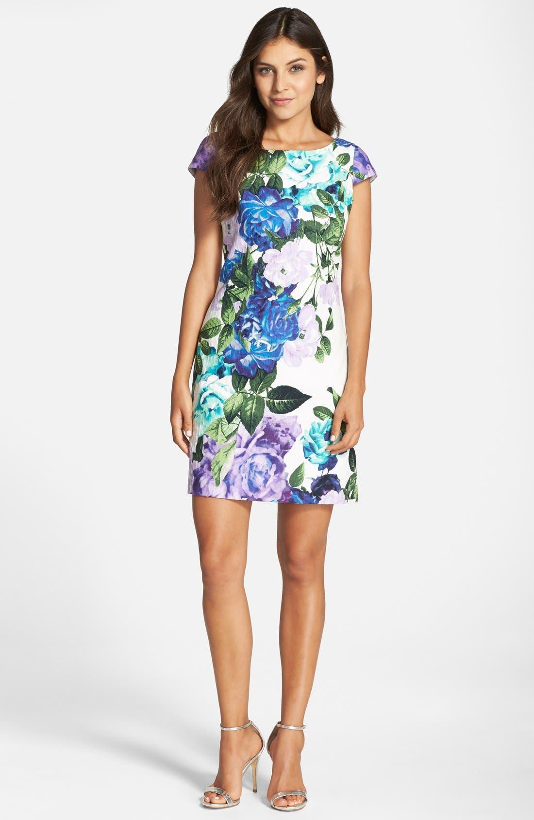 Alternate Image 3  - Eliza J Floral Jacquard Cotton Shift Dress (Regular & Petite)