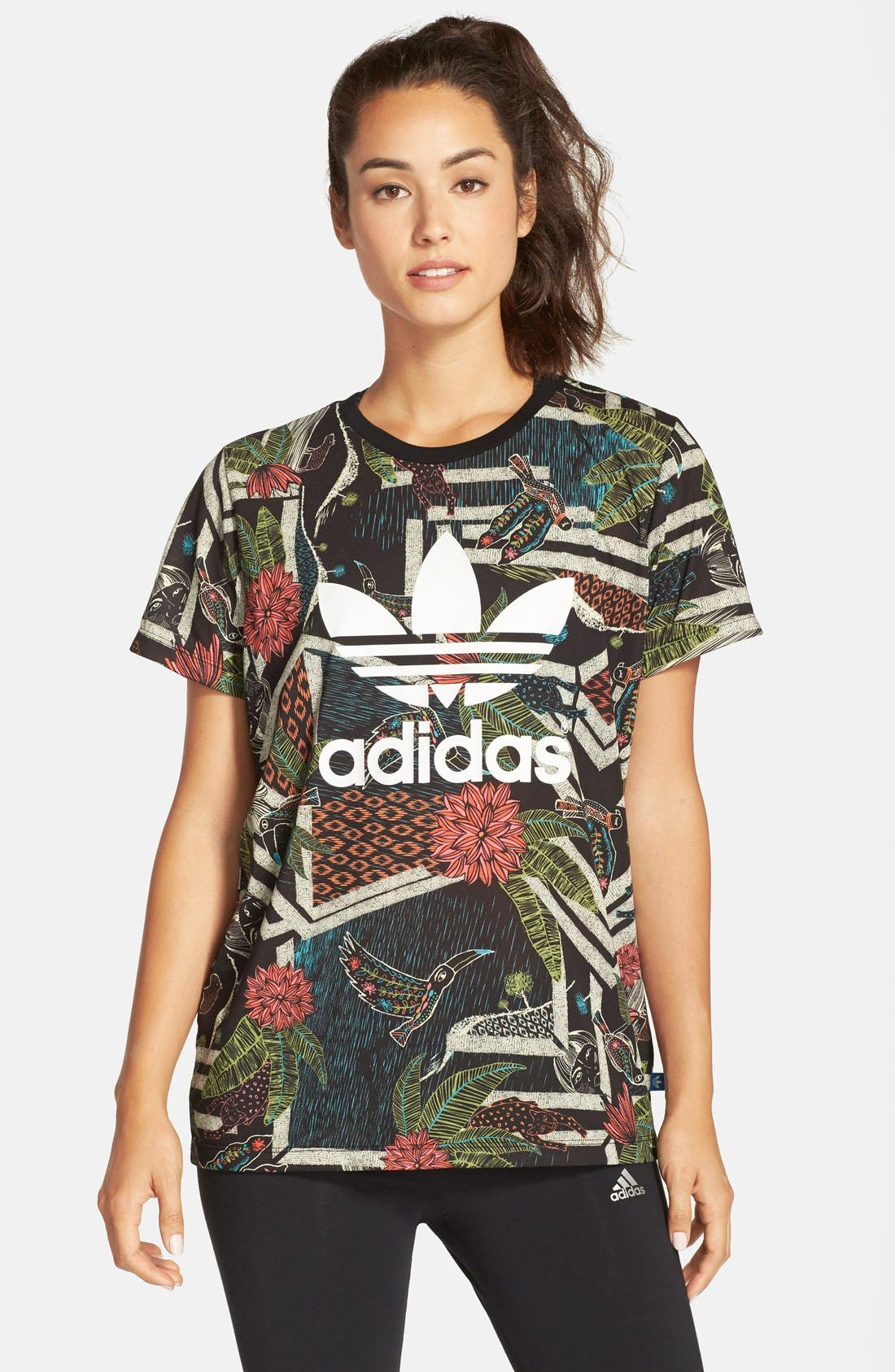 Alternate Image 1 Selected - adidas 'Xilofloresta' Logo Print Jersey Tee
