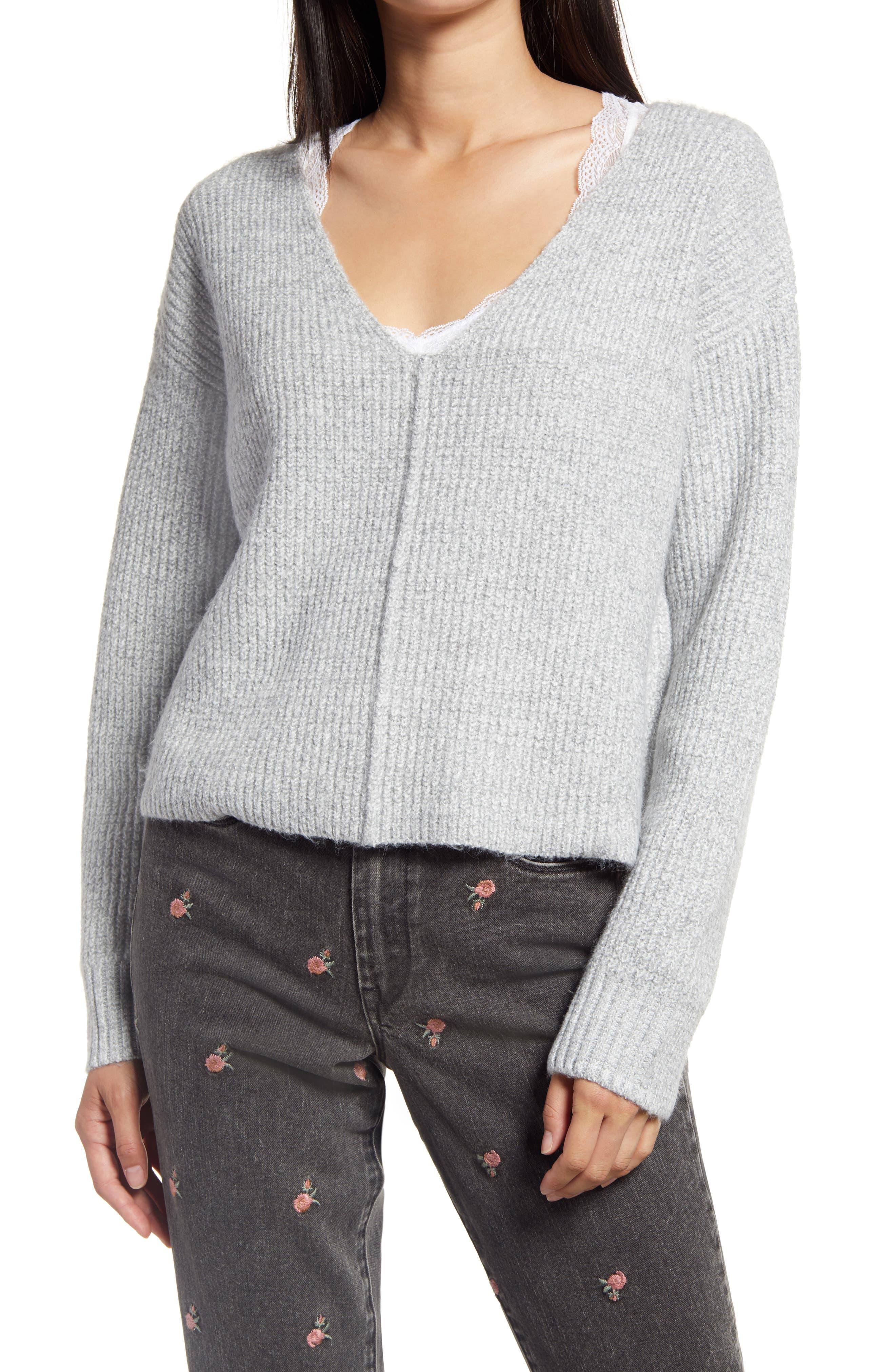 Essentials womens standard Lightweight V-neck Stripe Sweater