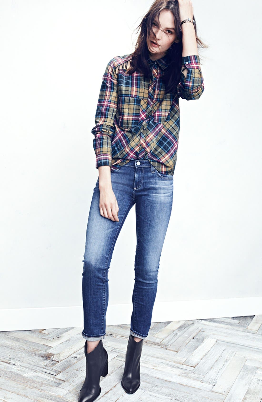 Alternate Image 4  - Free People Stitch Detail Plaid Shirt (Nordstrom Exclusive)